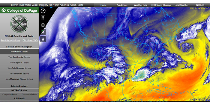 Image shows satellite image of water vapor over the United States with blue and yellow colors